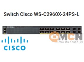 Cisco WS-C2960X-24PS-L Catalyst 2960X 24 GigE PoE 370W, 4 x 1G SFP